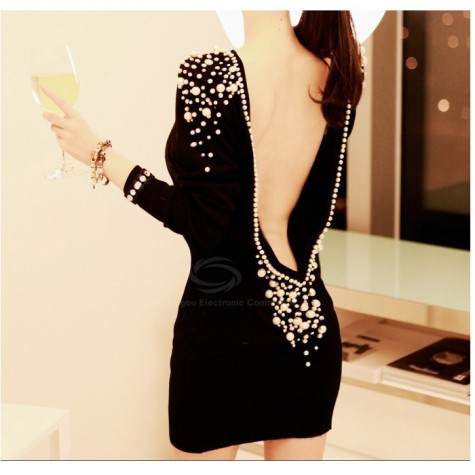 ad68bdc4d3c Luxury Boat Neck Faux Pearl Embellished Backless Long Sleeve Black Over Hip Club  Dress For Women Zoom. Product ...