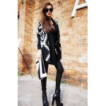 Modern Style Abstract Pattern Batwing Sleeve Knit Cardigan For Women