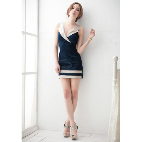 Office Lady Style Y Lapel Color Match Double Ted Stripe Hem Blue Sleeveless Polyester Dress For Women
