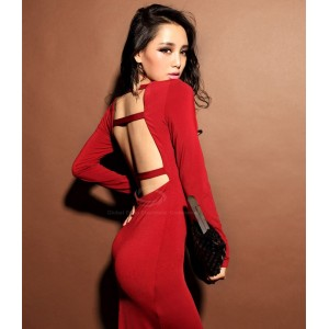 Open Back V-Neck Sexy Style Long Sleeves Cotton Blend Dress For Women