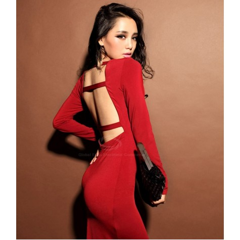 5a767acfaeb1 Open Back V-Neck Sexy Style Long Sleeves Cotton Blend Dress For ...