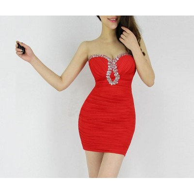 Pleated Polyester Low Cut Diamonds Sexy Style Dress For Women