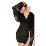 Retro Style V-Neck Splicing Chiffon Long Sleeves Slimming Club Cotton Blend Dress For Women black