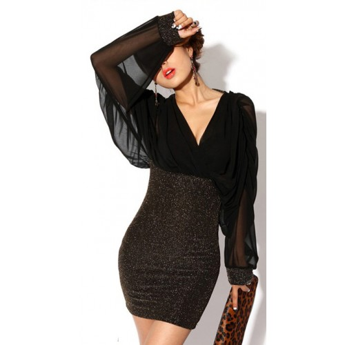 Retro Style V-Neck Splicing Chiffon Long Sleeves Slimming Club ... cb462b05dc