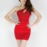 Rhinestone Cut Out Sleeveless One-Shoulder Sexy Style Dress For Women