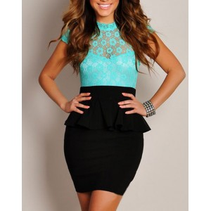 Ruffles Packet Buttock Stand Neck Peplum Dress For Women