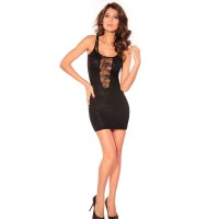Scoop Neck Sexy Sleeveless Solid Color Lace Dresses For Women