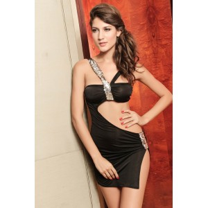 Sequin Spaghetti Strap Sleeveless Spandex Sexy Style Dress For Women Black