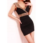 Sequins Plunging Neck Sleeveless Sexy Style Beam Waist Dress For Women