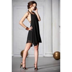 Sexy Backless Artificial Ruby Embellished Halter Neck Chiffon Dress For Women Black