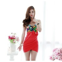 Sexy Floral Print Splice Bowknot Embellished Club Dress For Women