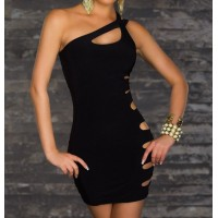 Sexy One Shoulder Hollow Out Sleeveless Black Bodycon Dress For Women