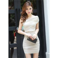 Sexy One-Shoulder Solid Color Ruffle Design Slimming Fit Party Summer Dress For Women White/Black
