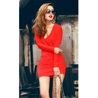 Sexy Plunging Neck Ruche Design Backless Batwing Sleeve Club Dress For Women