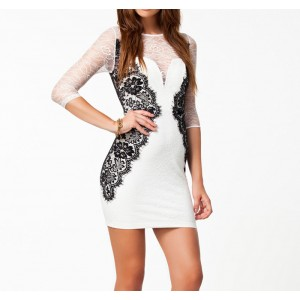 Sexy Round Collar Lace Splicing Color Block 3/4 Sleeves Bodycon Dress For Women