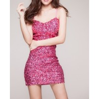 Sexy Spaghetti Strap Solid Color Sequined Bodycon Women's Dress