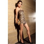 Sexy Strapless Yellow Leopard Print Club Dress Zipper Front Bodycon Dress For Women