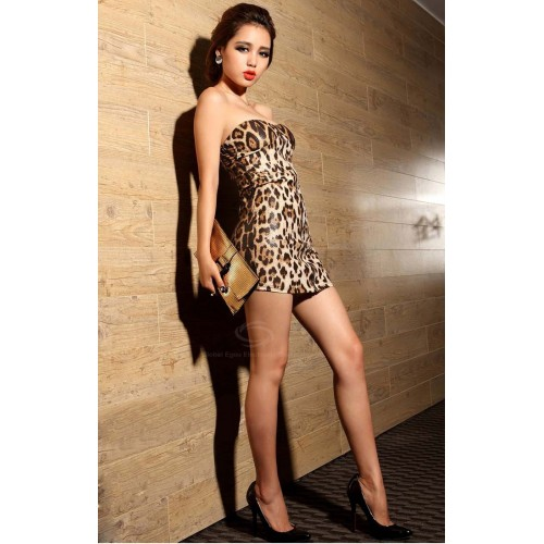 ae14f511af Sexy Strapless Yellow Leopard Print Club Dress Zipper Front Bodycon Dress  For Women Zoom. Product ...