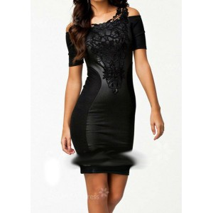 Sexy Straps Color Matching Applique Short Sleeves Bodycon Dress For Women
