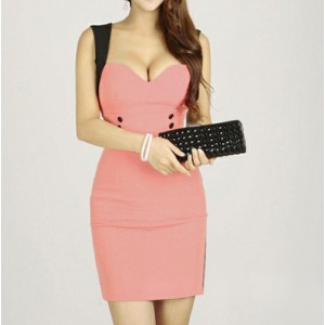 Sexy Straps Four Buttons Low-Cut Sleeveless Bodycon Dress For Women