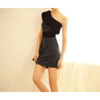 Sexy Style Color Block Inclined Shoulder Sleeveless Dress For Women