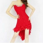 Sexy Style Low Cut Sleeveless Diamonds Polyester Dovetail Dress For Women
