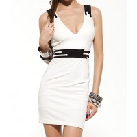 Sexy Style Plunging Neck Sleeveless Color Block Back Criss-Cross Dress For Women