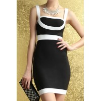 Sexy Style Sleeveless Color Block Slimming Packet Buttock Polyester Dress For Women