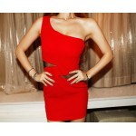 Sexy Style Solid Color One-Shoulder Voile Splicing Packet Buttock Dress For Women
