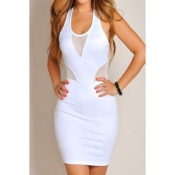 Sexy Style U-Neck Sleeveless Solid Color Voile Splicing Packet Buttock Dress For Women