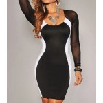 Sexy U Neck Color Matching Long Sleeves Bodycon Dress For Women Black