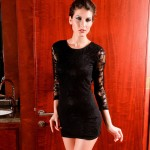 Sexy Women's Scoop Neck Backless 3/4 Length Sleeve Black Lace Dress