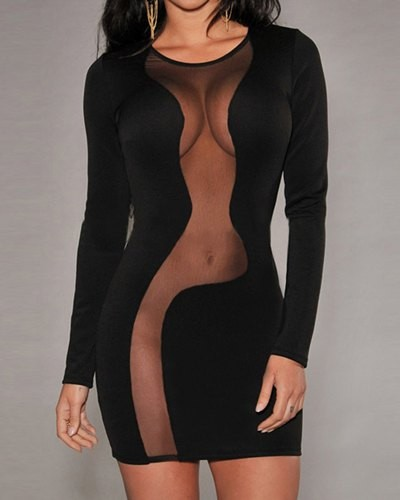 Sexy Women s Scoop Neck Mesh Splicing Long Sleeve Black Dress ...