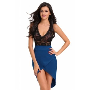 Sheer Lace Top Blue Wrap Mini Dress