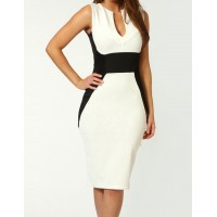 Sleeveless Bodycon Knee Length Dress For Women White/Rose