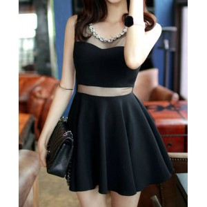 Sleeveless Solid Color Round Collar Slimming Mesh Splicing Sexy Dress For Women Black