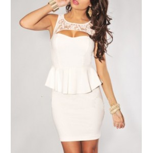 Slim Fit Lace Splicing Scoop Neck Sleeveless White Club Dress For Women