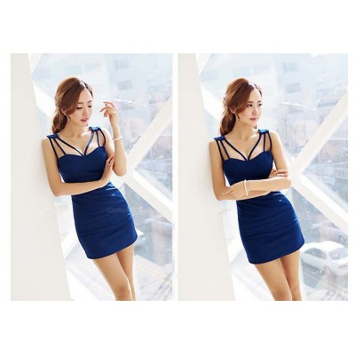 Slimming Plunging Neck Sleeveless Short Club Dresses For Women