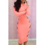 Slimming Round Collar Beam Waist Solid Color Long Sleeve Polyester Dress For Women