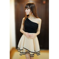 Sloping Shoulder Sleeveless Color Block Sexy Style Chiffon Dress For Women White/Red