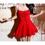 Solid Color Lace-Up Solid Color Sexy Style Spaghetti Strap Slimming Dress For Wome