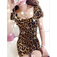 Solid Color (Leopard Print) Short Sleeves Slimming Backless Dress For Women