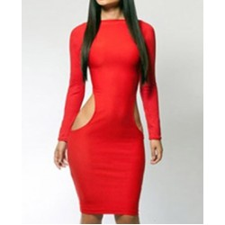Solid Color Packet Buttock Cut Out Long Sleeve Sexy Style Dress For Women