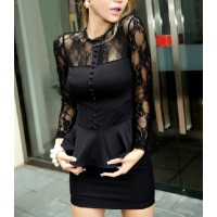 Solid Color Ruffle Single-Breasted Lace Splicing Sexy Style Long Sleeves Dress For Women Black/White