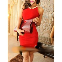 Solid Color Scoop Neck Beaded Embellished Sleeveless Slimming Dress For Women