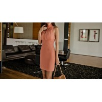 Solid Color Voile Splicing Sexy Style Turtleneck Sleeveless Beam Waist Dress For Women