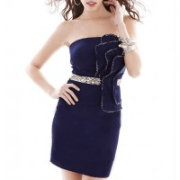 Stereo Flower Low Cut Sexy Style Color Block Beam Waist Rhinestone Dress For Women