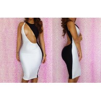 Stitching Hollow Out Backless Packet Buttock Sexy Polyester Color Matching Dress For Women