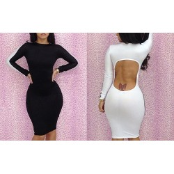 Stitching Packet Buttock Hollow Out Backless Polyester Color Matching Dress For Women