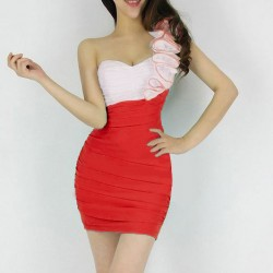 Stitching Ruffles Shirred Beam Waist Packet Buttock Polyester Color Matching Dress For Women